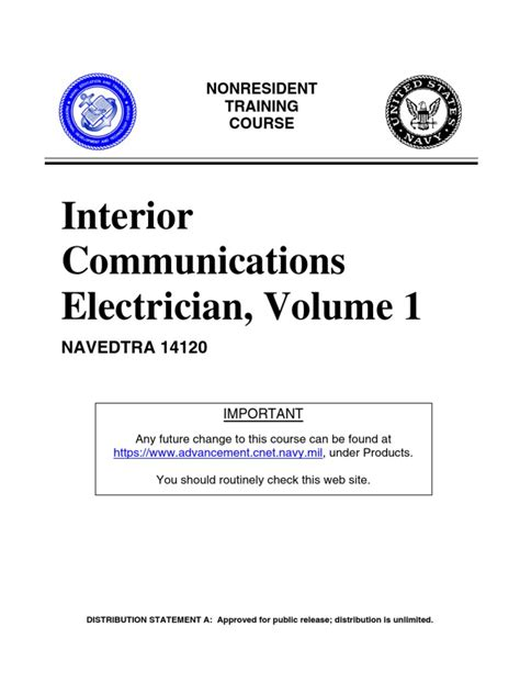 Interior Communications Electrician Volume 1 us navy course navedtra 14120 interior communications electrician volume 1 insulator