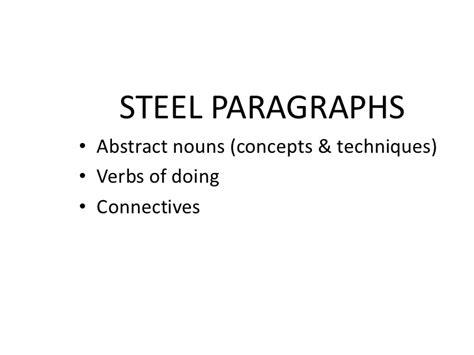 essay structure steel steel paragraph practice