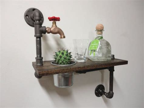 industrial black iron pipe planter shelf with