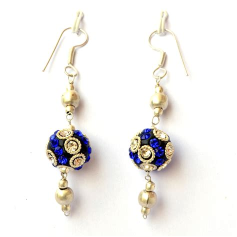 Handmade Ear Rings - handmade earrings black with white blue