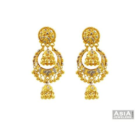 22k gold earrings designs designer 2 tone jhumki earrings 22k ajer57157 22k gold