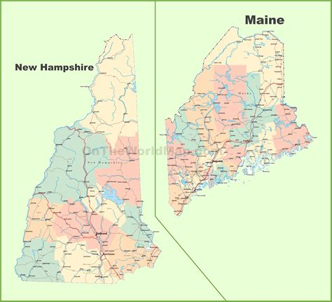 new hshire maine map of new hshire and maine