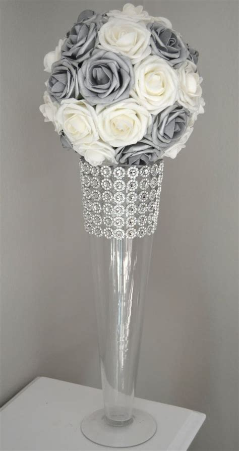 And Silver Wedding Flower Ideas by Silver And White Flower Wedding Centerpiece