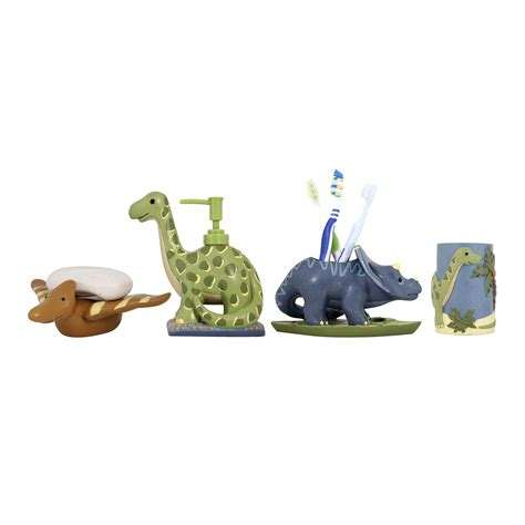 modona four bathroom accessories set dinosaur