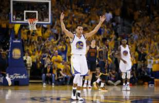 Stephen curry of the golden state warriors celebrates during game 2 of