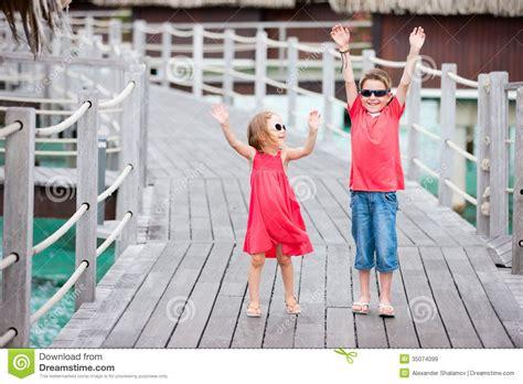 Kid Bungados two at resort royalty free stock images image 35074099