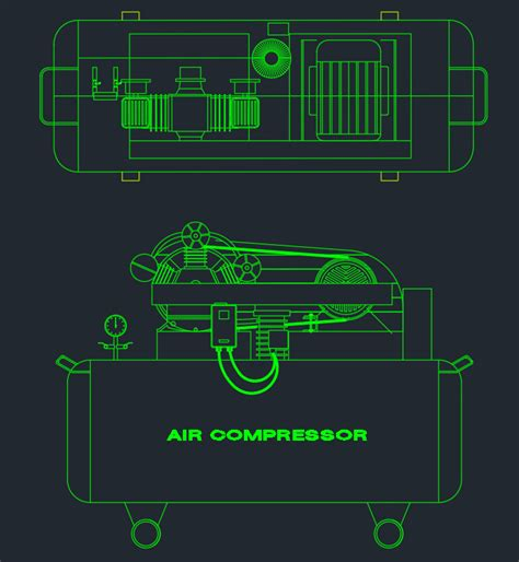 air compressor cad block  typical drawing  designers