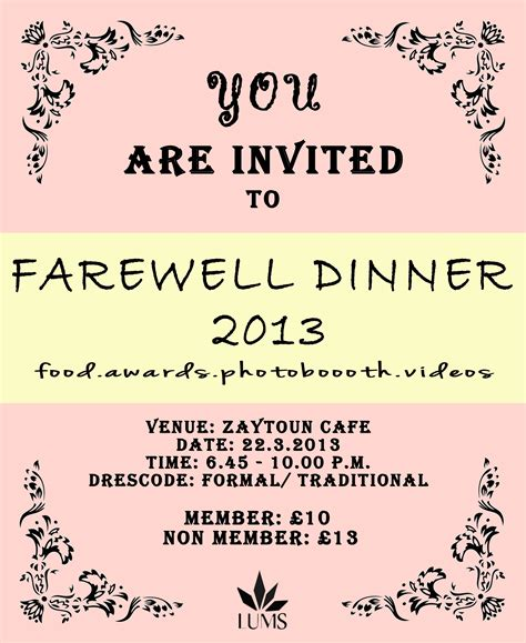 farewell invitation card template simple retirement invitation with pink background