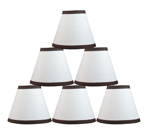 Urbanest White Cotton W Coffee Trim Chandelier Mini L Set Of 6 Chandelier Shades