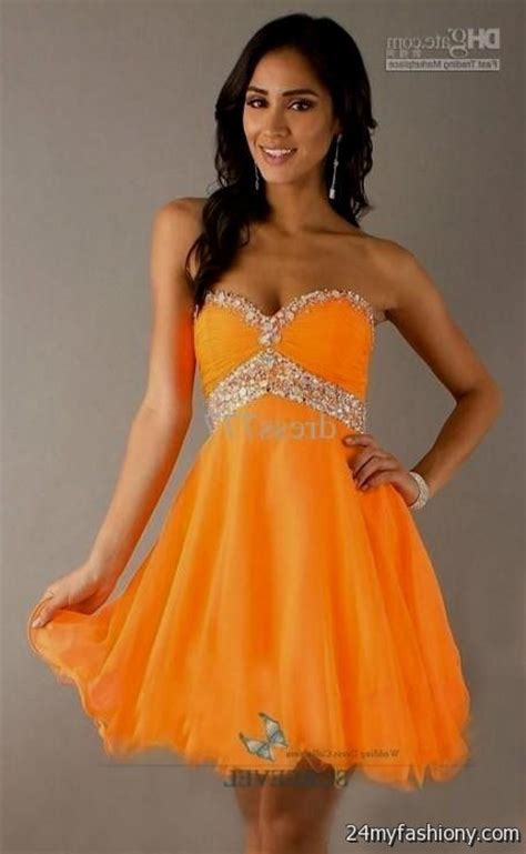 Dress Wanita Orange orange prom dresses 2016 2017 b2b fashion