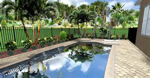 187 tropical landscaping and paver deck for small pool area