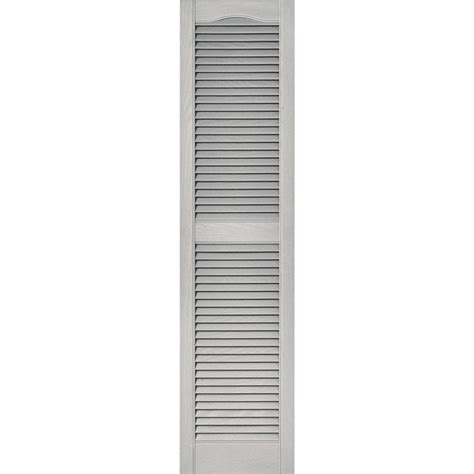 Builders Edge 15 In X 60 In Louvered Vinyl Exterior Home Depot Exterior Shutters