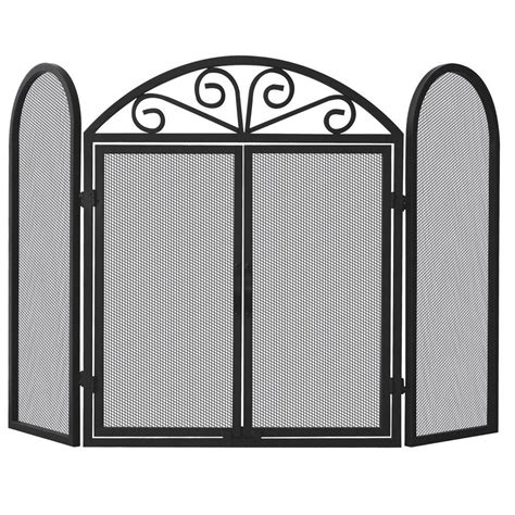 Uniflame Fireplace Screen With Doors by Uniflame Black Wrought Iron 3 Panel Fireplace Screen With Opening Doors S 1184 The Home Depot