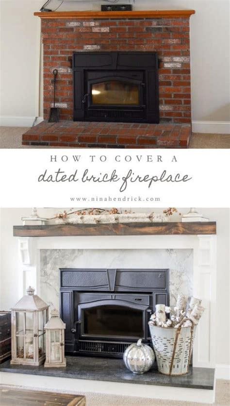 covering fireplace how to cover your brick fireplace modern farmhouse style