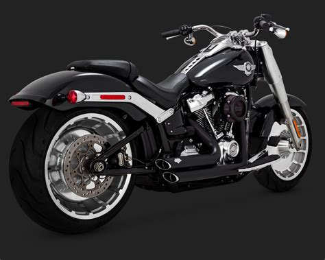 Exhaust For Harley Davidson by Vance Hines Shortshots Staggered Exhaust In Black For