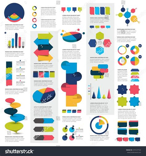 infographics and chart design elements vector set mega set infographics elements charts graphs stock vector