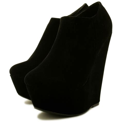 wedge heel platform ankle boots black from