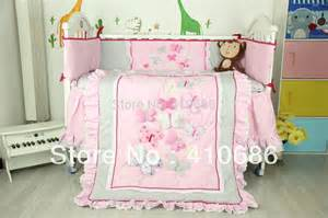 Toddler Cot Bed Bedding Set Embroidery Lace Baby Crib Cot Cotton Bedding Sets 6pcs