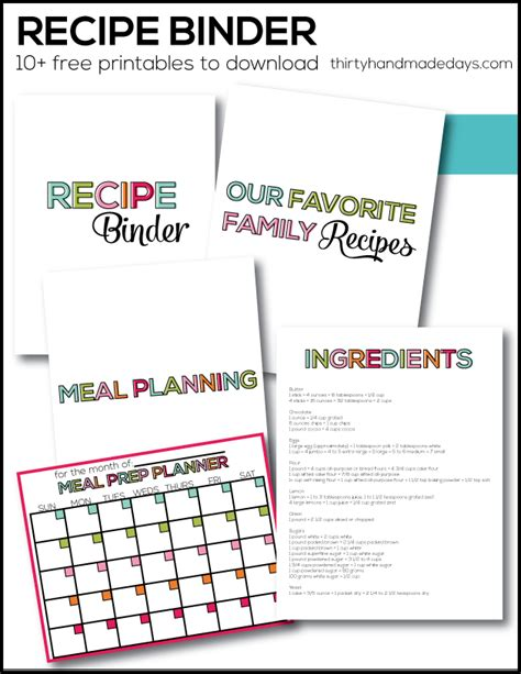 recipe binder templates recipe binder