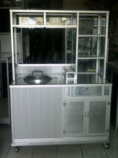 Etalase 4 Baris Panjang 2 Meter penjualan etalase meja alumunium gerobak makanan rak