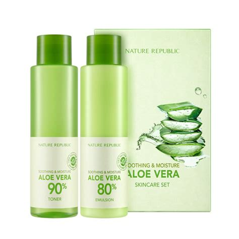 Nature Republic Soothing Moisture Aloe Vera Set nature republic soothing moisture aloe vera skincare set