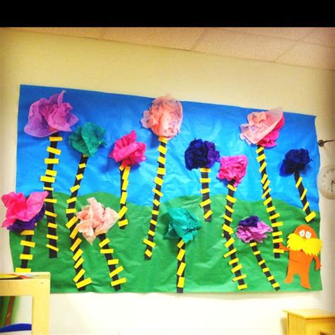 How To Make Lorax Trees Out Of Tissue Paper - lorax truffle tree forest made with butcher paper