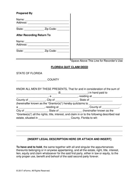 free florida quit claim deed form pdf word eforms