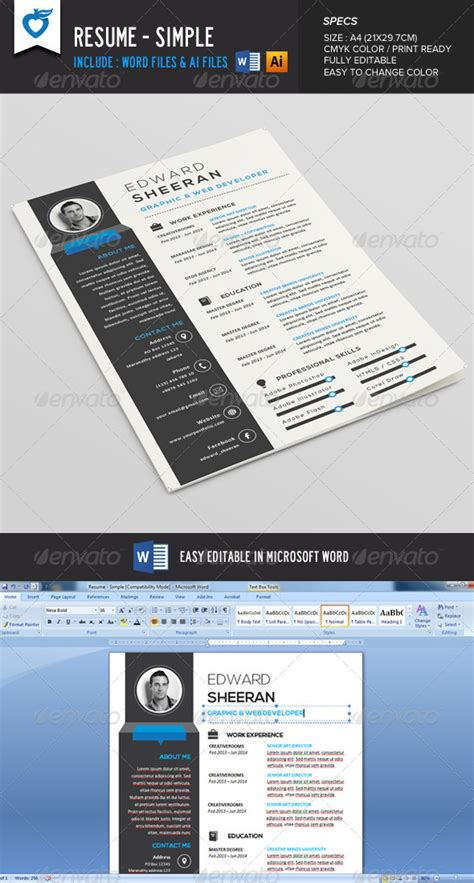 reference resume minimalist tattoos sleeve with bats logo resume cv simple graphicriver