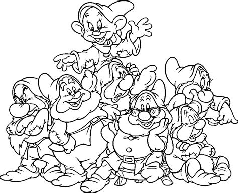 snow white and the seven dwarfs coloring pages coloring home