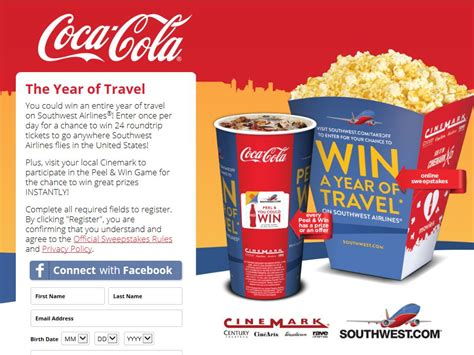 Airline Sweepstakes - coca cola cinemark southwest airlines sweepstakes
