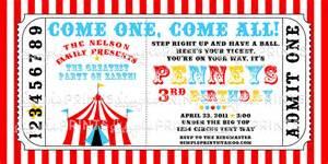 circus tent ticket printable invitation dimple prints shop