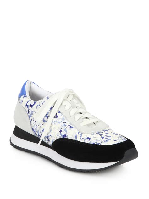 floral sneaker loeffler randall mixed media floral print sneakers lyst