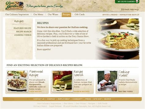 olive garden website experience italy on olive garden s new web site