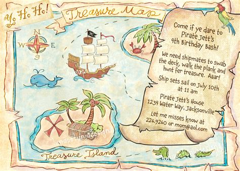 free pirate treasure maps for a pirate birthday party pirate treasure map invitation optional photo 14 00