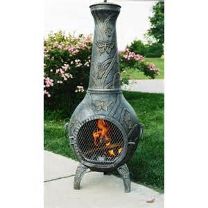 Chiminea Fire Pits - butterfly antique pewter chiminea