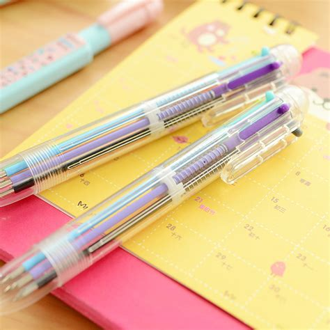 Six Colors In One Ballpoint Pen Pulpen 6 Warna 1 pc 6 colors refill pens multicolor presses multifunction color ink ballpoint pen color