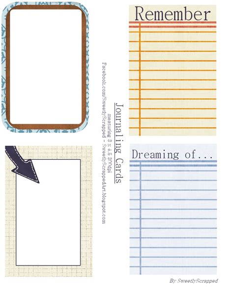 Journaling Cards Template by Sweetly Scrapped Printable Journaling Cards