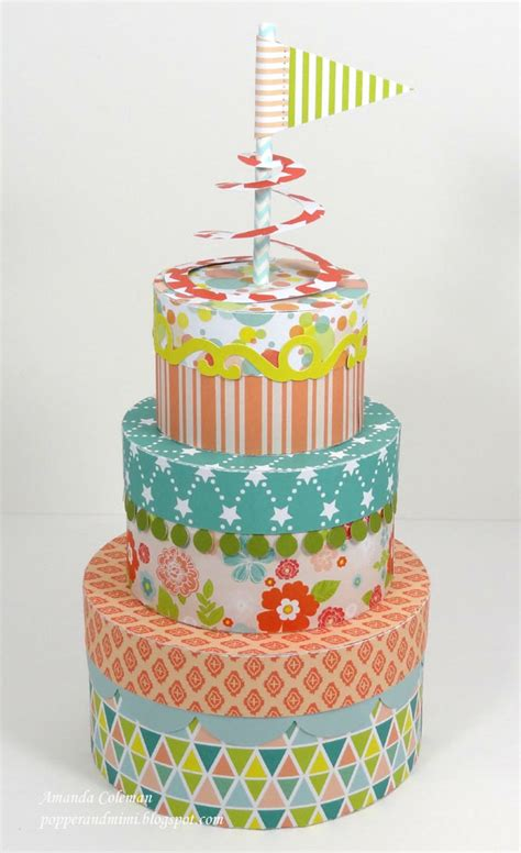 Paper Birthday Cake Craft - popper and mimi stackable birthday cake boxes and paper