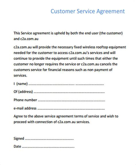 service agreements samples word