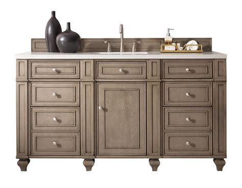 60 inch antique single sink bathroom vanity whitewashed