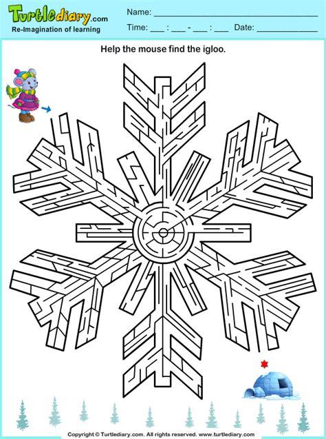 printable winter maze snowflake maze worksheet turtle diary