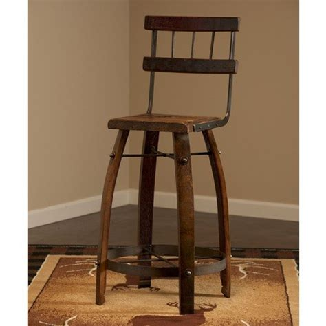 Wine Barrel Stools With Back reclaimed wine barrel stave backed bar stool