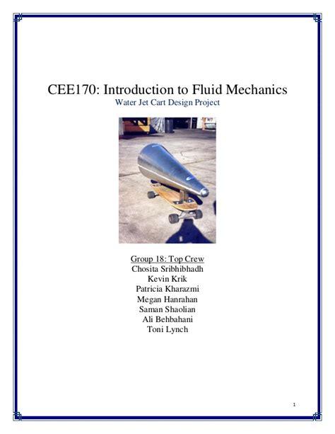 design experiment for fluid mechanics intro to fluid mechanics design project