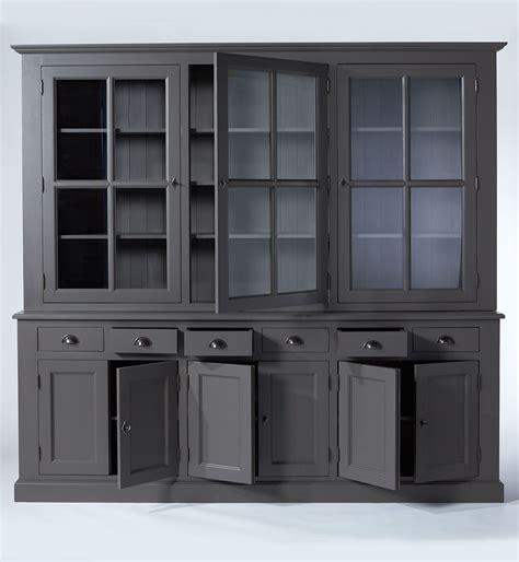 buffet vaisselier bois gris fonc 233 9 portes 6 tiroirs