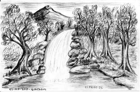 imagenes para dibujar un paisaje dibujo de paisaje con cascada arte taringa