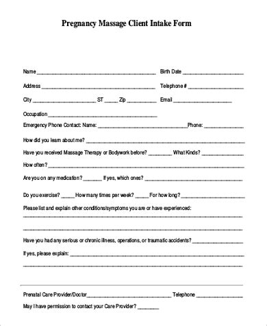9 Sle Massage Intake Forms Sle Templates Intake Form Template