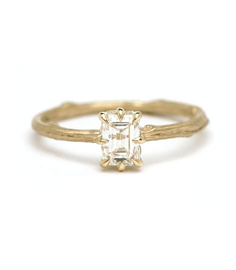 one of a kind twig band emerald cut diamond engagement ring