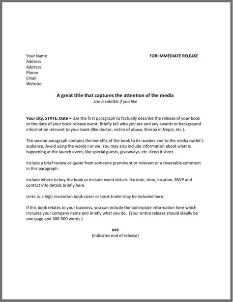 How To Write A Press Release For A Book The Happy Self Publisher News Release Template Free