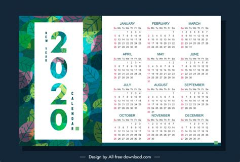 calendar template nature theme colorful leaves decor  vector  adobe illustrator ai