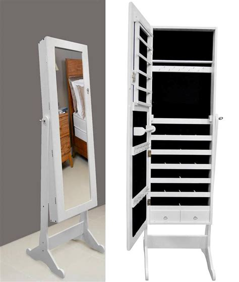 white mirrored jewelry cabinet armoire contemporary dressing room with full length stand cheval storage jewelry tall wooden